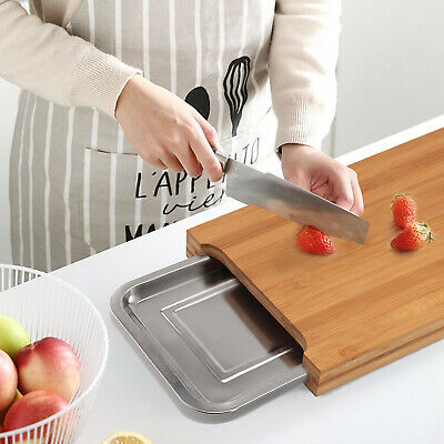 New Bamboo Wooden Chopping Board Cutting Slicing + Sliding Stainless Steel Tray