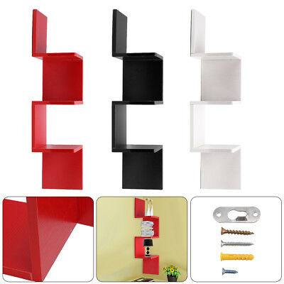 3Tier Floating Wall Shelves Corner Shelf Storage Display Bookcase UK