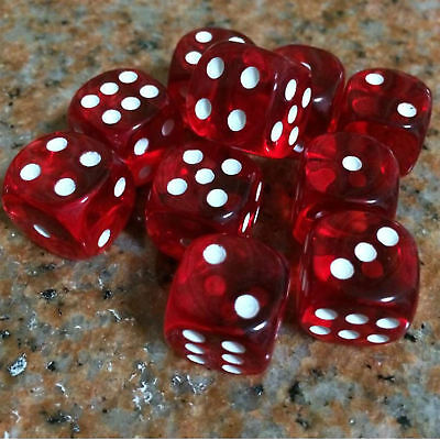 16mm 10Pcs Transparent Six Sided Spot Dice Toys D6 RPG Role Playing Game Red