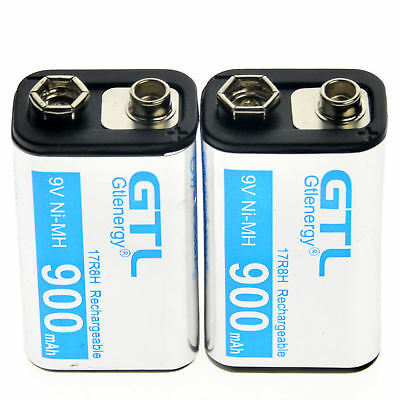 2pcs Durable 9V Volt 900mAh Power Ni-Mh Rechargeable Battery Cell PPS block