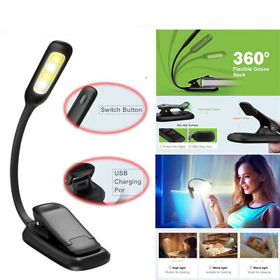 Portable Flexible LED Clamp Lamp Clip On Reading Book Light Rechargeable Travel