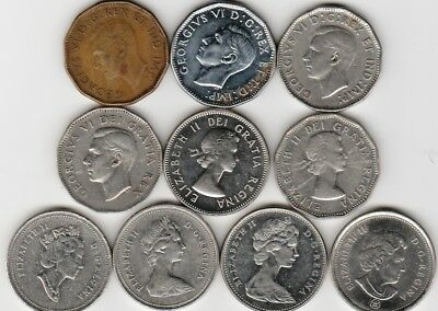 10 different 5-CENT coins from CANADA