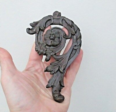 Antique 19th Century Bronze Rococo Plaque Of A Flower Furniture Wall Decoration