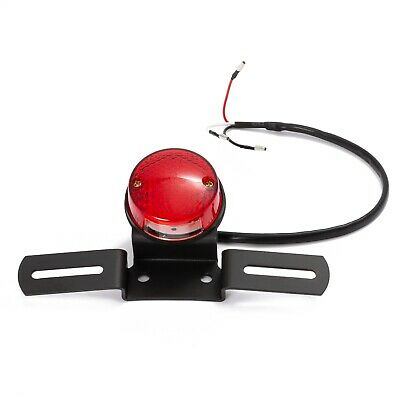 Round Rear Red Stop Tail Light Motorcycle Universal License Plate Holder Black