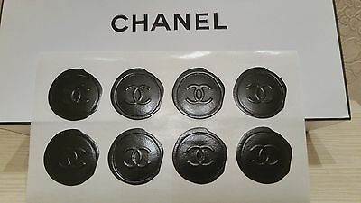 NEW RARE STICKERS CHANEL BLACK STAMP WITH LOGO - set :1 sheet/8 pieces stickers