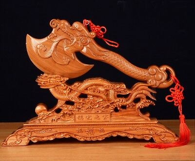 Peach Wood Fengshui Axe W+ Dragon Rack Amulet Table Decoration Blessing Gift