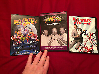 Muppets from Space, Pee-Wee's Big Adventure, Three Stooges Dizzy Doctors DVD's