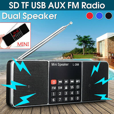 MIni Portable Digital FM Radio 2 Band Charge Receiver Speaker MP3 Player LED AU