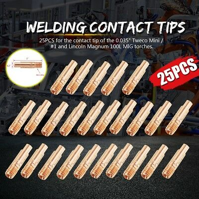 25 Contact Tips 11-35 for Tweco Mini/#1 & Lincoln Magnum 100L MIG Welding Guns