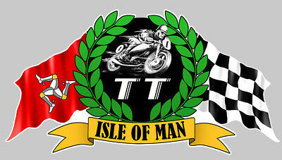 STICKER ISLE OF MAN TOURIST TROPHY RACING ILE DE MOTO BIKER 14x7,5cm IA068