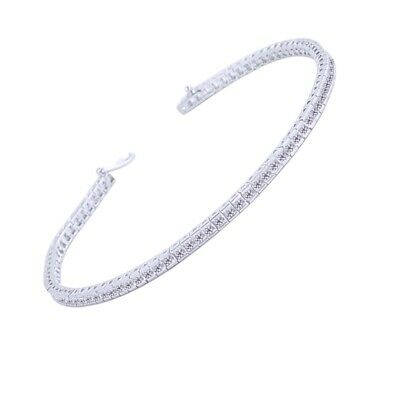 "Real 925 Sterling Silver 7.25"" 2.5mm CZ Tennis Bracelet Clear Princess Cut"