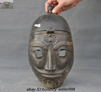 "12"" Old Chinese Dynasty Bronze Ancient Warrior generals helmet Hard hat cap Mask"