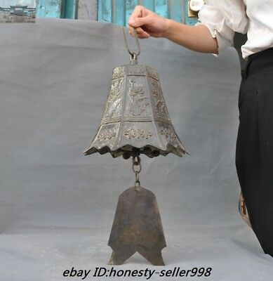 """23""""Old Chinese Buddhism Temple Bronze Lotus flower Hanging Pray Bell Zhong Bells"""