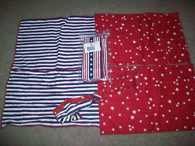 Longaberger All American 5 Placemats and 2 Napkins Stars and Stripes