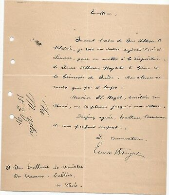 EGYPT ÄGYPTEN 1891 LETTER SIGNED BY Germany Egyptologist Émile Brugsch LOT 16