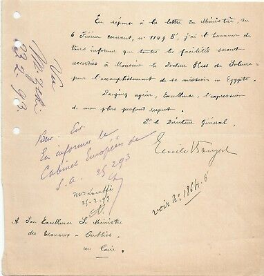 EGYPT ÄGYPTEN 1893 LETTER SIGNED BY Germany Egyptologist Émile Brugsch LOT 17