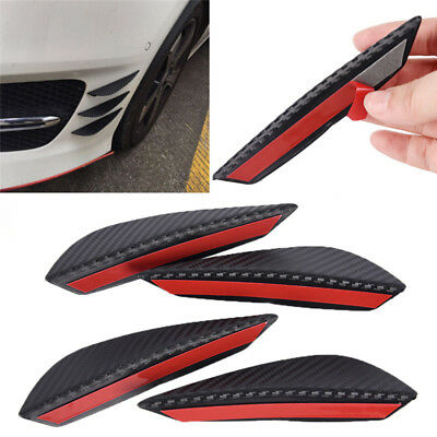 4× Carbon Fiber Car Front Bumper Splitter Fin Spoiler Canards Exterior Body Gut