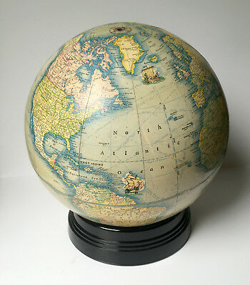 Vintage Rand McNally Art Globe - Rare! - Black Glass Base - 1939 - WWII Era