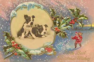 Boston Terrier Puppy Dogs  1920's & Nast Santa LARGE New Christmas Note Cards