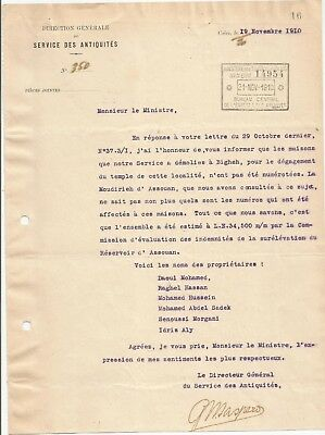 Egypt Ägypten 1910 Rare Letter Signed By France Gaston Maspero Lot 3