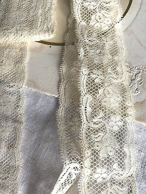 Vintage Lace Trim Cream Valenciennes Floral Lace 2yd Sewing Fun - Old New Stock