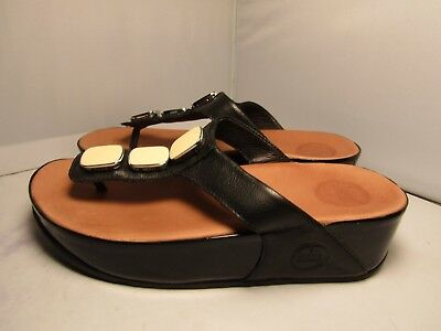 b54e173b7 Fitflop Womens 6   37 Pietra II Black Leather Embellished Flip Flops Sandals