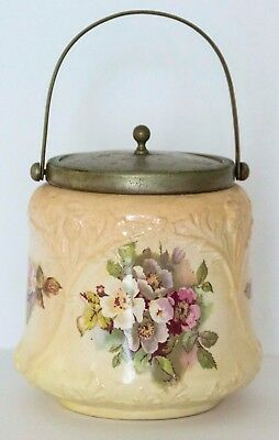 Vintage Antique English Biscuit Jar Floral Motif