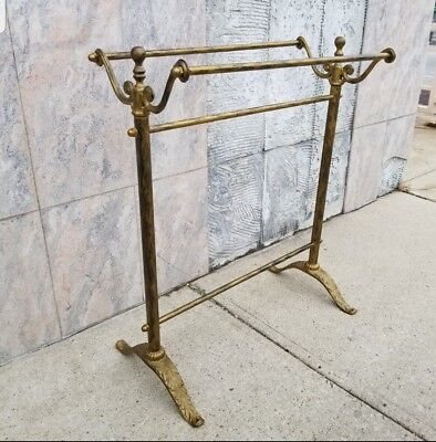 Vintage Wrought Iron Quilt Rack Stand Blanket Towel Storage Display Scroll Iron