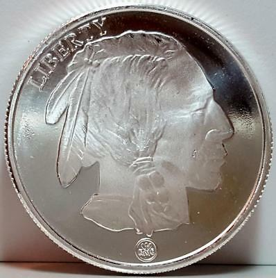 RMC Republic Metals Corp. 1 Troy Oz. .999 Fine Silver Round Buffalo Indian