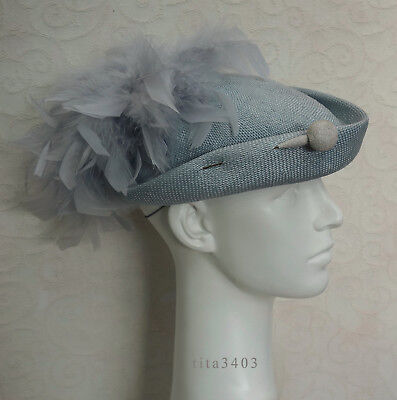 grauer VINTAGE-HUT _ Victorian-Riding-Hat-Style _ Hostess-Schiffchen _ TOP