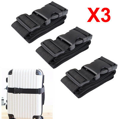 3PCS Luggage Suitcase Strap Baggage Backpack Bag Buckle Strap Travel Belt Black