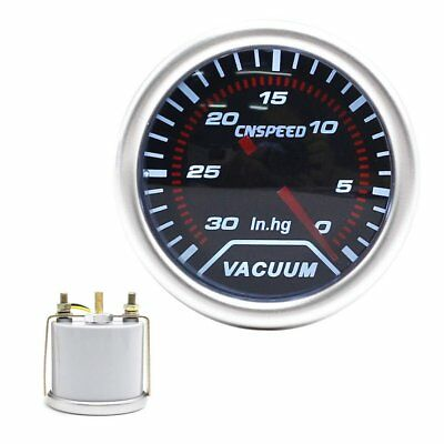 "Universal -30~0 In.Hg Vacuum Gauge Meter 2"" 52mm Smoke Len LED Indicator Pointer"