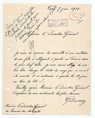 EGYPT ÄGYPTEN 1911 LETTER SIGNED by France Georges Émile Daressy LOT 2