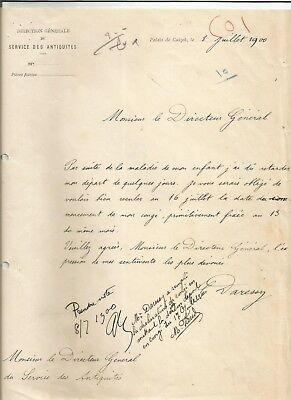 EGYPT ÄGYPTEN 1900 LETTER SIGNED by France Georges Émile Daressy LOT 6
