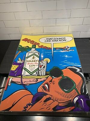 London Underground Tube Subway Advertising Poster British Gilbey's Gin Authentic
