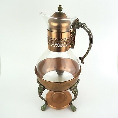 Copper And Glass Coffee / Tea Carafe Serving Set And Warmer Foundation