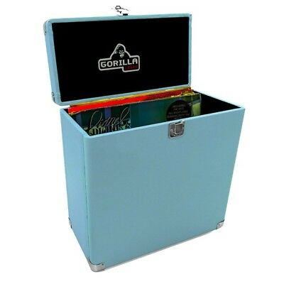 "Gorilla LP-45 Retro Style 12"" Vinyl Record Storage Case Sonic Blue Inc Warranty"