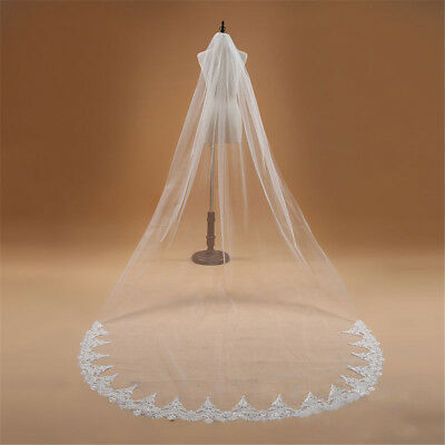 1T Cathedral Length Wedding Bridal Veil With Comb Lace Edge Accessories New