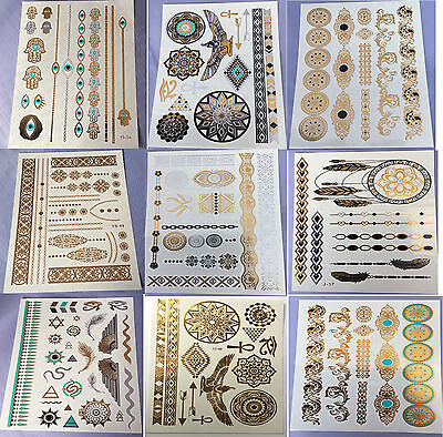 9 Sheets Temporary Disposable Metallic Tattoo Gold Silver Black Flash TattoWTUS
