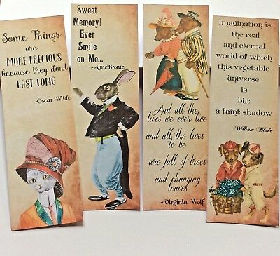 4 x Vintage Animal Quotes ~ BOOKMARKS