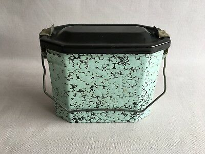 Antique Vintage French Enameled Graniteware green lunch Pail box