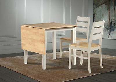 Grey Oak Dropleaf Extending Dining Kitchen Table Solid Wood Compact Two Chairs