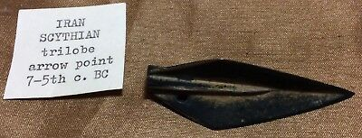 AUTHENTIC ANCIENT PERSIAN SCYTHIAN TRILOBE BRONZE ARROW HEAD POINT 7-5th C. BC