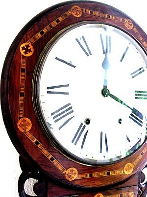 A beautiful Antique inlaid mahogany  Eight-Day Wall Clock Inlaid NEW HAVEN