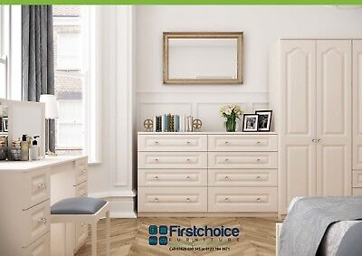 Langley Ivory Wardrobe Chest Of Drawers Set Ready Assembled Bedroom Furniture UK