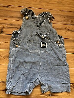 HOPPER retro 80's cotton summer overalls dungarees vintage baby boy size 1