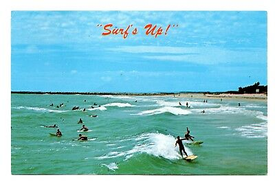 Surf's Up Postcard Florida Coast Surfing Waves Surfers Vintage Unposted