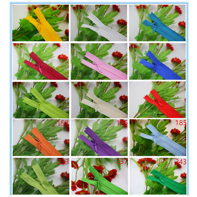 Nylon Zippers Coil Closures 10/50pcs Sewing Clothing Craft 23 Colors Invisible