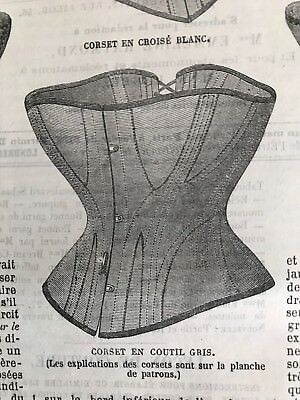 MODE ILLUSTREE SEWING PATTERN Sept 6,1868 - Special CORSETS , MANTELET, BONNETS