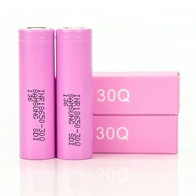2x Samsung 30Q IMR 18650 3000mah15A Rechargeable Batteries Flat Top Ion Battery